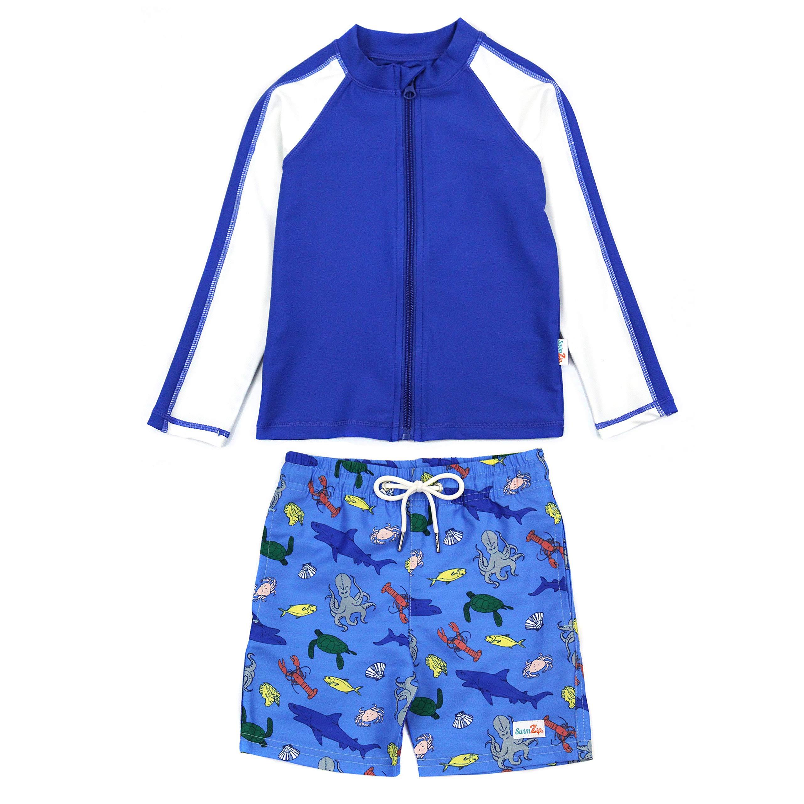 SwimZip Boy's UPF 50+ Long Sleeve Rash Guard & Swim Shorts Set (Multiple Colors)
