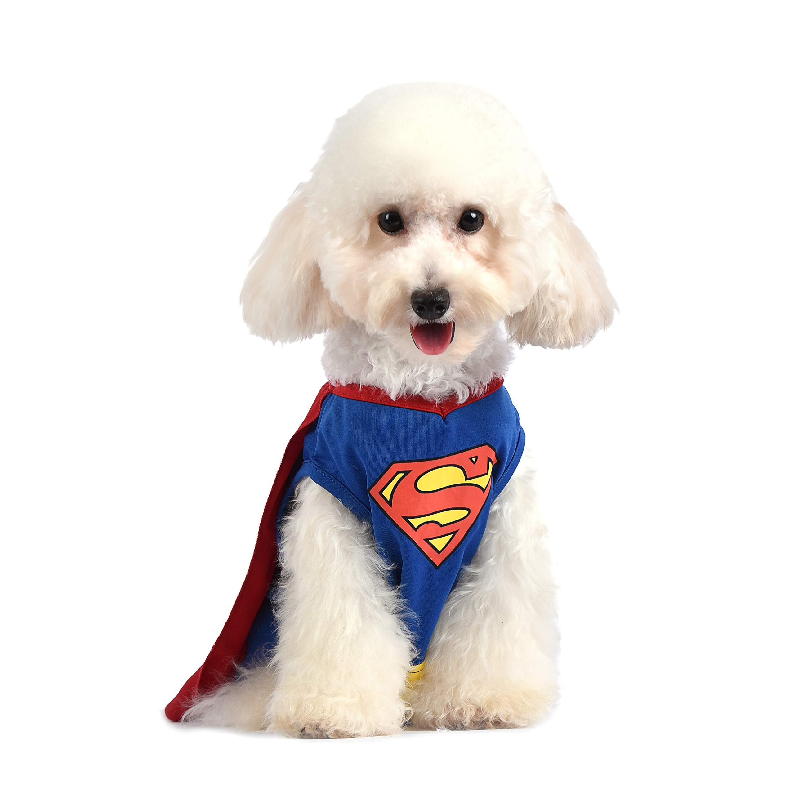 DC Comics Superman Dog Costume | Superhero Costume for Dogs |  Red, Blue, and Yellow Superman Dog Halloween Costume With Cape, Available in Multiple Sizes