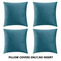 COMFORTLAND Throw Pillow Covers 18x18 Light Blue: 4 Pack Cozy Soft Velvet Square New Year/Christmas Decorative Pillow Cases for Farmhouse Sofa Couch Bed Chair Home Decor Decorations