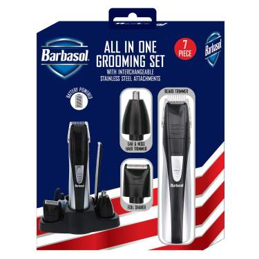Barbasol Portable Battery Powered All In 1 7 Piece Beard Grooming Set With Ear And Nose Trimmer Foil Shaver And Beard Trimmer With Stainless Steel Blades And Stand