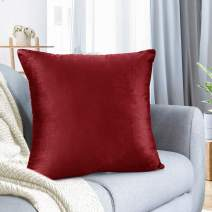 "Nestl Bedding Throw Pillow Cover 22"" x 22"" Soft Square Decorative Throw Pillow Covers Cozy Velvet Cushion Case for Sofa Couch Bedroom - Cherry Red"