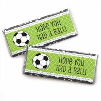Big Dot of Happiness Goaaal - Soccer - Candy Bar Wrappers Baby Shower or Birthday Party Favors - Set of 24