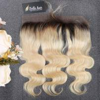 Bella Hair Ombre 1B/613 Body Wave Lace Frontal Closure with Baby Hair, Pre-Plucked Dark Roots Remy Human Hair Frontal 13x4 Ear to Ear 16inch