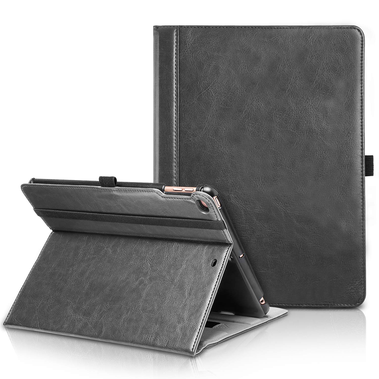 TIRIN New iPad 9.7 2018/2017 Case-Smart Stand Magnetic Premium Leather Case Cover with Auto Wake & Sleep, Front Pocket and Pen Holder for New iPad 9.7 Inch 2018/2017,iPad Air,iPad Air 2-Black