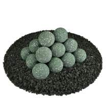 Ceramic Fire Balls | Set of 20 | Modern Accessory for Indoor and Outdoor Fire Pits or Fireplaces – Brushed Concrete Look | Slate Green, Speckled, 3 Inch