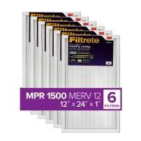 Filtrete 12x24x1, AC Furnace Air Filter, MPR 1500, Healthy Living Ultra Allergen, 6-Pack