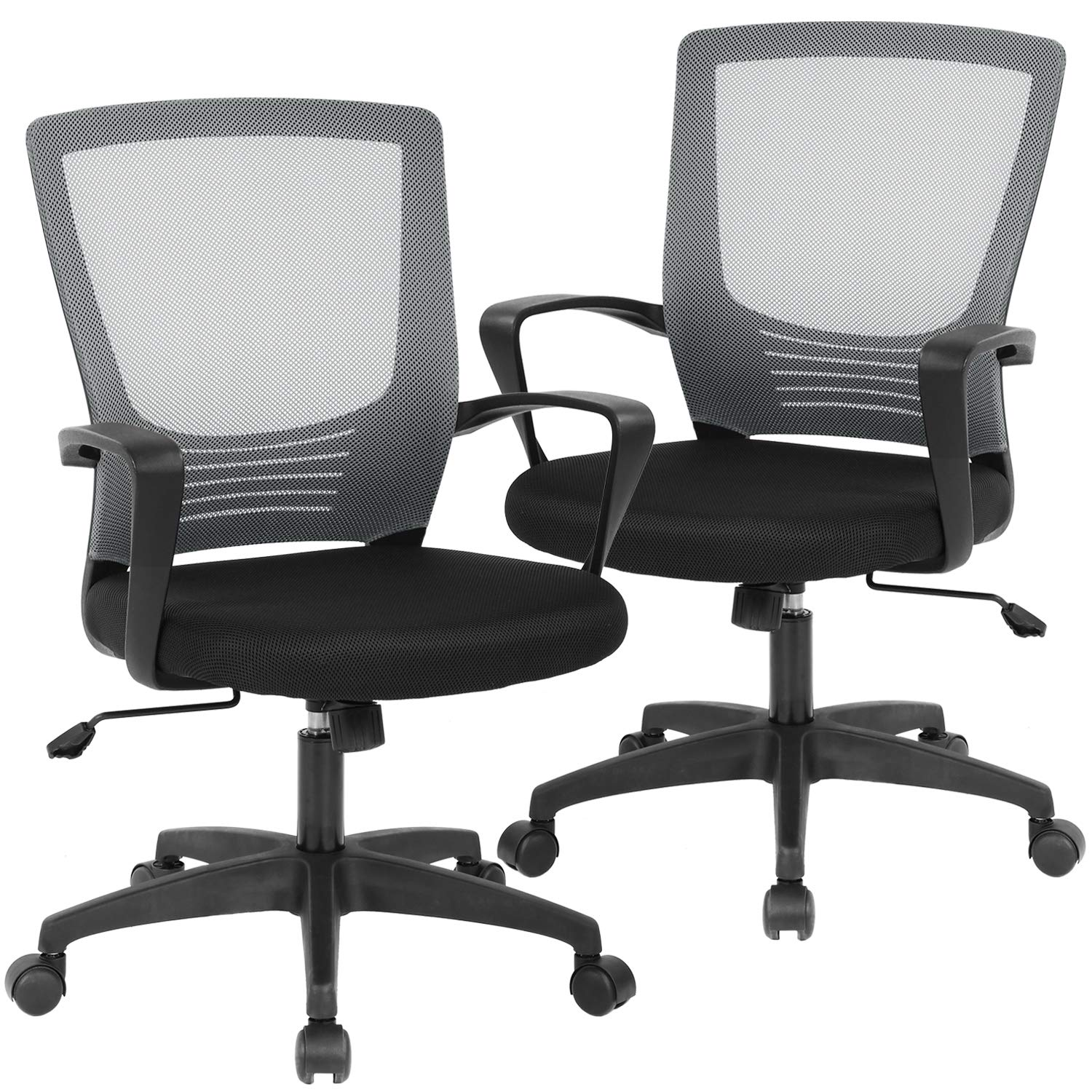 Office Chair Desk Chair Computer Chair Executive Rolling Swivel Chair Lumbar Support Task Mesh Chair for Back Pain, 2 Pack