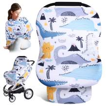 Nursing Cover Carseat Canopy - Baby Car Seat Covers, Infant Stroller Cover, Soft Car Seat Canpoy Covers for Babies, Baby Girls and Boys Shower Gifts, Multifunctional Poncho, Cart Covers, Dinosaur