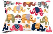 Toddler Pillowcase 13x18 by Comfy Turtles, 100 Natural Cotton, or Get a Smile from a Kid with Cute Animals of this Soft Pillow Cover for Boys and Girls (Beige Elephants)