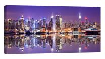 LightFairy Glow in The Dark Canvas Painting - Stretched and Framed Giclee Wall Art Print - City Urban Decor Hong Kong Skyline - Master Bedroom Living Room Decor - 6 Hours Glow - 46 x 24 inch