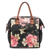 LOKASS Lunch Bag Cooler Bag Women Tote Bag Insulated Lunch Box Water-resistant Thermal Lunch Bag Soft Liner Lunch Bags with wide-open for women (Peony)