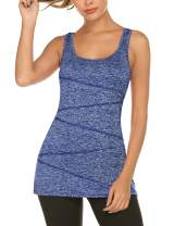 LOMON Women Yoga Tank Tops Quick Dry Activewear Sleeveless Workout Gym Casual Basic Loose Fit Summer Racerback Tank