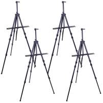 """U.S. Art Supply 72"""" Sturdy Black Aluminum Tripod Artist Field and Display Easel Stand (Pack of 4) - Adjustable Height 25"""" to 6 Feet, Holds 52"""" Canvas - Floor and Tabletop Displaying - Portable Bag"""