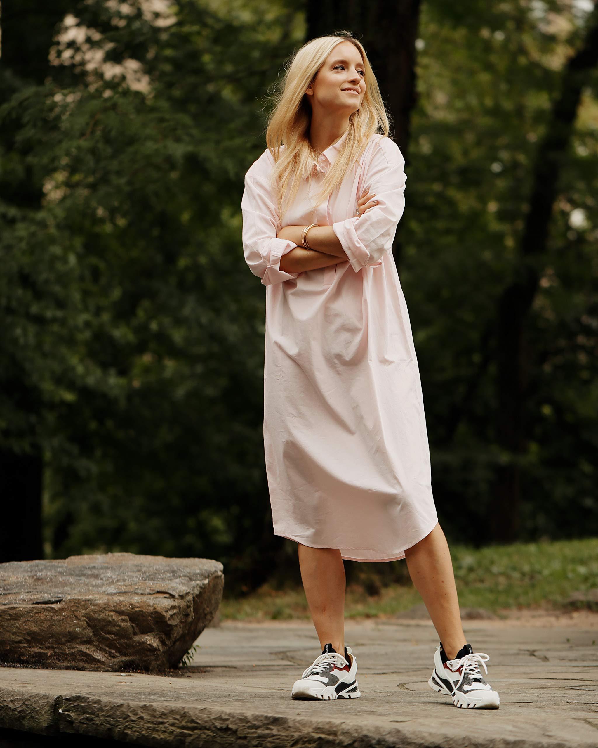 The Drop Women's Pastel Pink Oversized Midi Shirt Dress by @thefashionguitar