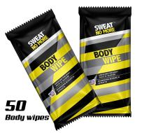 """Sweat No More Extra Large 10 x 9"""" Deodorizing Body Wipes for Outdoor Activities Cleaning and Deodorizing, Remover Sweat, Dirt and Body Odor, Individually Wrapped - Pack of 50"""
