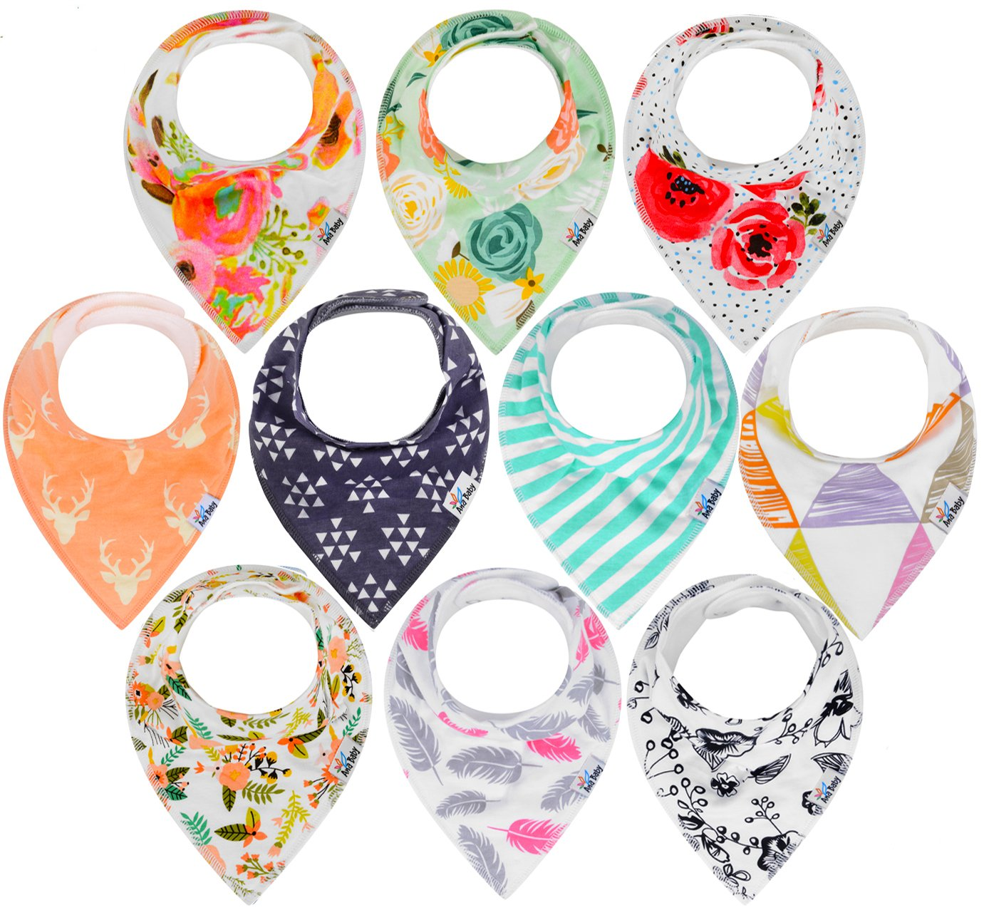 10-Pack Baby Bandana Drool Bibs for Drooling and Teething, 100% Organic Cotton, Soft and Absorbent,Bibs for Baby Girls - Baby Shower Gift Set by Ana Baby
