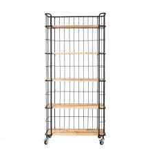 Creative Co-op Wood Shelves with Metal Frame & Caster Wheels 5-Tier Shelf, Grey