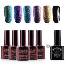 Perfect Summer Gel Polish Chameleon Color Soak Off UV/LED Manicure, 5PCS Chameloen Colors + 1PCS Black Color, 10ml each Nail Starter Kit (Set #15)