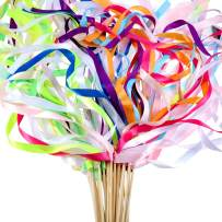40 Pieces Mix Color Ribbon Wands Sticks with Bell Fairy Stick Party Streamers for Wedding Party (Multicolor)