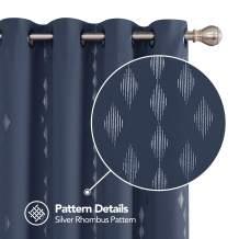 Deconovo Foil Printed Rhombus Design Curtain Panels Grommet Sound Proof Blackout Curtain Heat Blocking Drapes 52x84 Inch Navy Blue 2 Panels