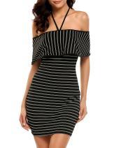 Zeagoo Women's Striped Off The Shoulder Bodycon Fitted Ruffle Mini Short Dress