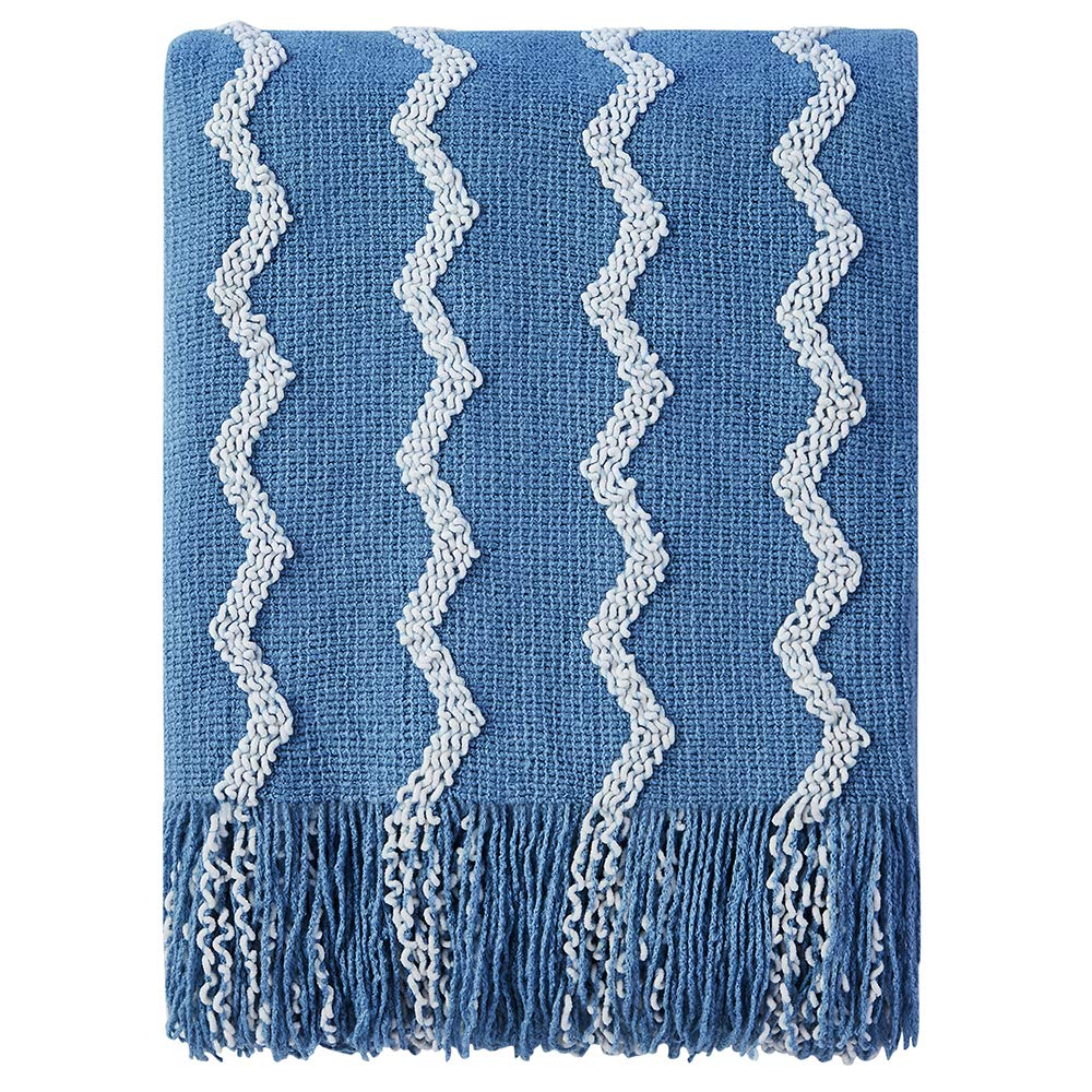 """Bourina Fluffy Chenille Knitted Fringe Throw Blanket Lightweight Soft Cozy for Bed Sofa Chair Throw Blankets, 50"""" x 60"""" (Blue, 50""""x60"""")"""
