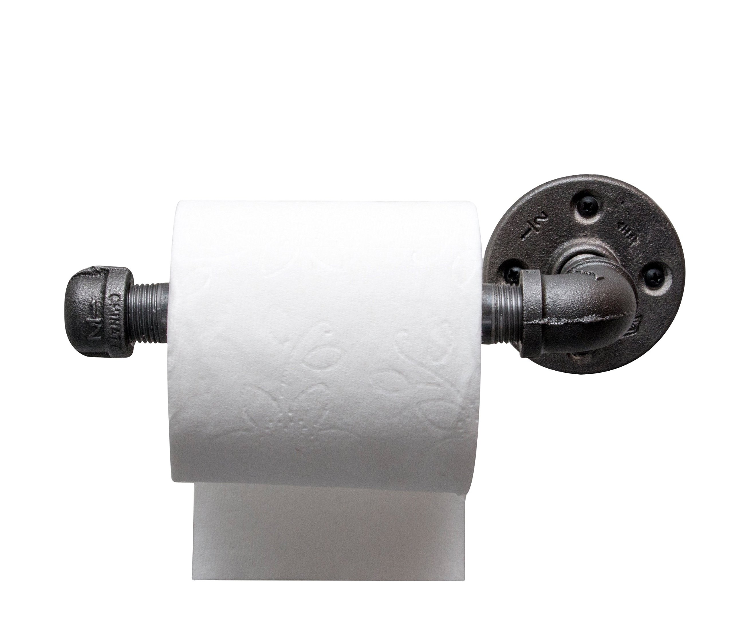 DIY CARTEL Industrial Pipe Toilet Paper Tissue Holder - Black Iron - Commercial/Heavy Duty - Style : Modern, Minimalist, Rustic, Steampunk, Farmhouse, and Industrial Furniture (1 roll Holder)