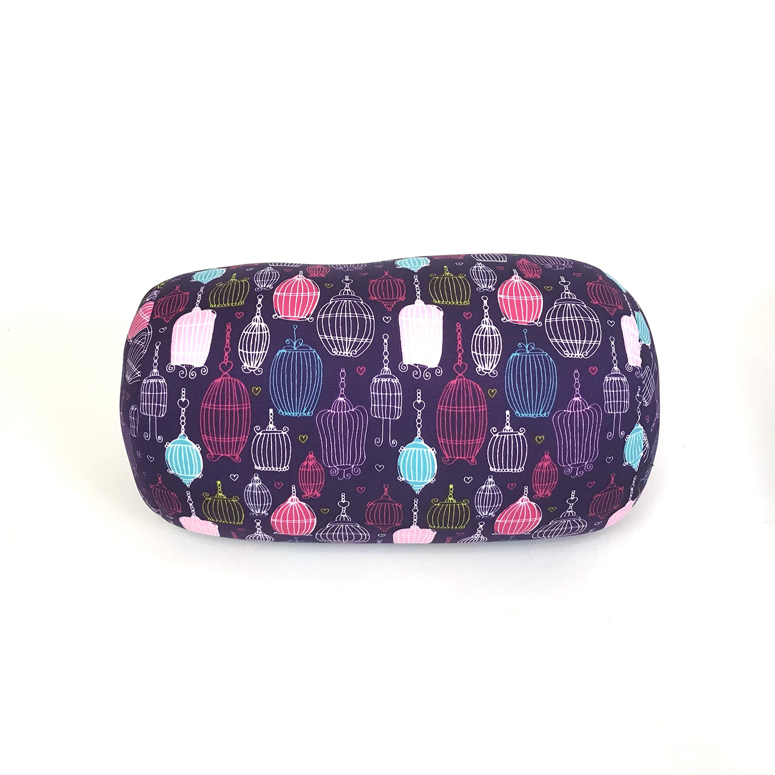 """Bookishbunny Home Office Chair Car Seat Cushion Micro Bead Roll Pillow 7"""" x 12"""" Head Neck Back Body Comfort (Bird Cage)"""