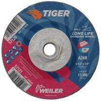 "Weiler 57120 4-1/2"" x 1/4"" Tiger Type 27 Grinding Wheel, A24R, 5/8""-11 UNC Nut (Pack of 10)"
