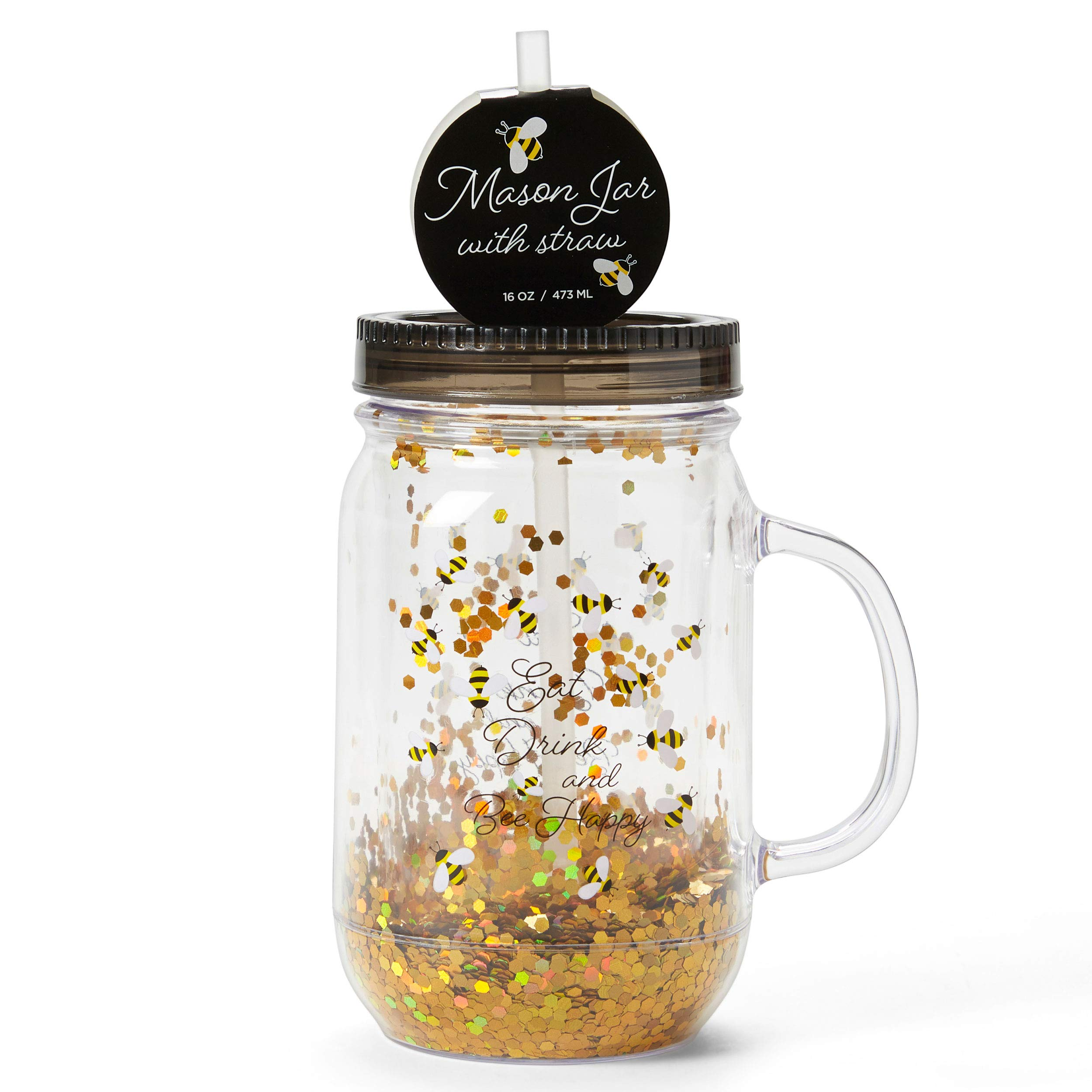 Plastic Mason Jar Cup Large Break Resistant Bpa Free To Go Mug With Lid Straw And Handle Perfect As Party Cup Kids Travel Mug With Fun Saying And Sparkly Glitter