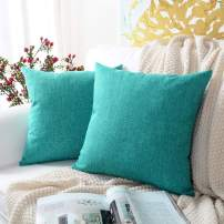 MERNETTE New Year/Christmas Decorations Cotton Linen Blend Decorative Square Throw Pillow Cover Cushion Covers Pillowcase, Home Decor for Party/Xmas 16x16 Inch/40x40 cm, Turquoise, Set of 2