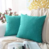 MERNETTE New Year/Christmas Decorations Cotton Linen Blend Decorative Square Throw Pillow Cover Cushion Covers Pillowcase, Home Decor for Party/Xmas 22x22 Inch/55x55 cm, Turquoise, Set of 2