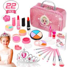 ROYI Makeup for Kids, 23 Pieces Safe and Washable Makeup Toys with Princess Crown, Portable Girls Play Dress Up Cosmetics Set Perfect for Birthday, Pretend Party, Halloween, Christmas