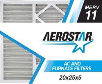 "Aerostar 20x25x4 (20"" x 24 3/4"" x 4 3/8"") MERV 11, Allergen Protection Air Filter, 20x25x5, Box of 1, USA"