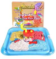 CoolSand DIY Color Mixer Set - Includes: 1 Pound Red, Yellow, Blue White Moldable Indoor Play Sand, Glitter, Mixer, Slice and Scrape Tools and Inflatable Sandbox