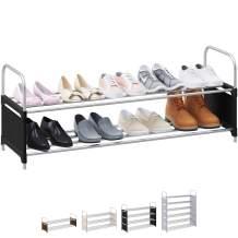 NEATERIZE 2 Tier Wide Shoe Rack | Stackable, Metal, Closet Shoe Organizer | Shoe Shelf Cabinet | Organizador De Zapatos | Shoe Rack for Closets, Entryway, Living Room and Bedroom (Black)