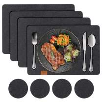 FYY Placemats Set of 4, [Heat Resistant] Non Slip Felt Placemats for Dining Table Set of 4 with 4 Coasters Washable Table Mats for Kitchen Table Black