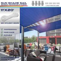 Windscreen4less Sun Shade Sail Ice Blue 11' x 20' Rectangle Patio Permeable Fabric UV Block Perfect for Outdoor Patio Backyard - Customize (4 Pad Eyes Included)