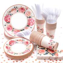 Vintage Floral Party Supplies, (Serves 24) Disposable Paper Plates, Napkins, Cups, Knives, Spoons, Forks, Tablecloth, Tableware Sets for Baby Shower Birthday Party Wedding, Father's Day