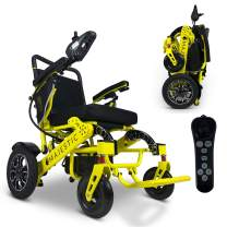 """2021 Foldable Electric Wheelchair - Remote Control 500 Watt & Waterproof Motors Electric Wheelchairs Lightweight Foldable Motorize Power Electrics Wheel Chair Mobility Aid (19.5"""" Seat Width)"""