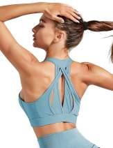 Workout Sports Bra Women Padded Mesh Racerback Strappy Medium Impact Running Yoga Active Wear