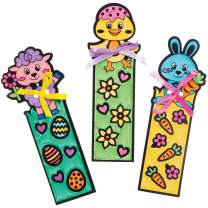 Baker Ross AT519 Easter Fuzzy Colour-in Bookmarks — Creative Art and Craft Supplies for Kids to Make and Decorate (12 Pack)