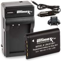 Ultimaxx AC/DC Rapid Home & Travel Charger with BX1 Extended Life Battery (1600mAh) for Sony Cyber-Shot M8, DSC-HX80, HX90V, HX95, HX99, HX350, RX1, RX1R II, RX100, FDR-X3000, HDR-AS50, HDR-300