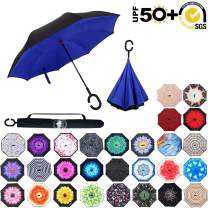 ABCCANOPY Inverted Umbrella,Double Layer Reverse Rain&Wind Teflon Repellent Umbrella for Car and Outdoor Use, Windproof UPF 50+ Big Straight Umbrella with C-Shaped Handle,Royal Blue