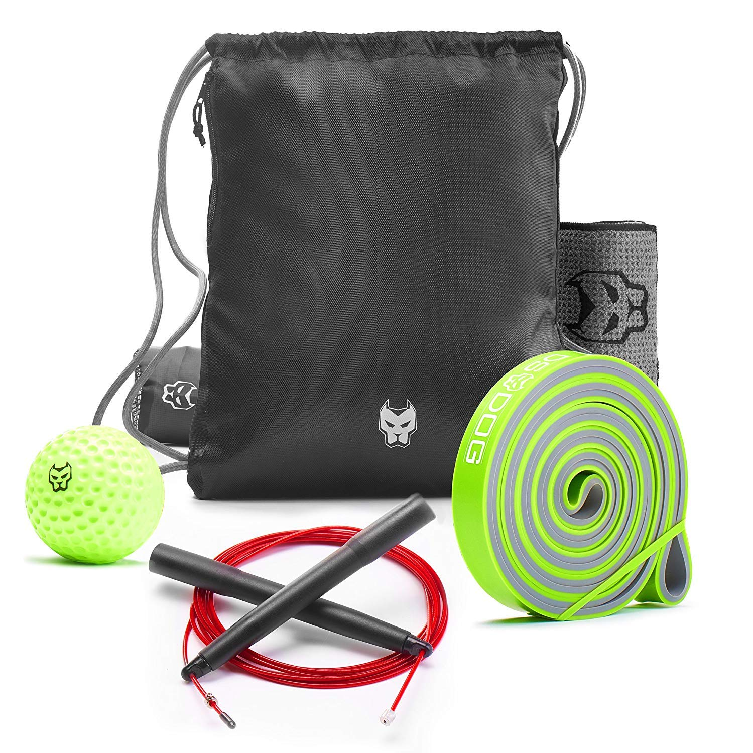 KONUNGR Workout Set for Home Fitness on Quarantine - Pull Up Band - Massage Ball - Sport Towel - Jump Rope - Stay at Home & Get Fit During Isolation