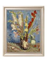 DECORARTS - Vase with Gladioli and Chinese Asters, Vincent Van Gogh Art Reproduction. Giclee Print& Framed Art for Wall Decor. 20x16, Framed Size: 23x19
