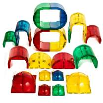 Magnetic Stick N Stack Shape Mags 30 Piece Round Set 6X6 Domes 3X3 Domes Arches Tunnels & Rounded Windows with Super Strong Magnets Clear Color Compatible with All Brands
