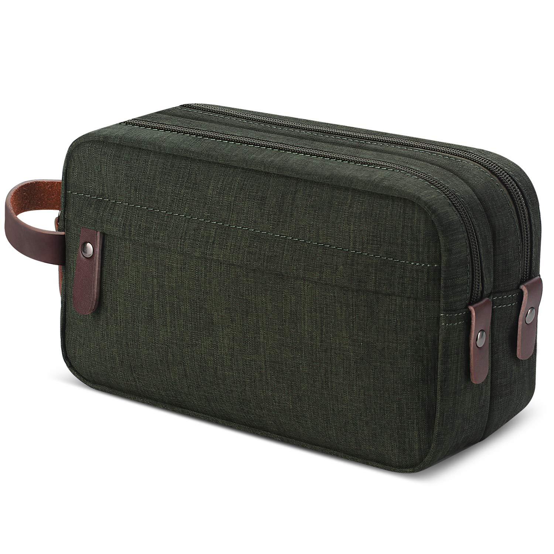 Men's Travel Toiletry Organizer Bag Water-resistant Shaving Dopp Kit Bathroom Bag (Army Green Water-resistant)