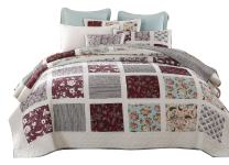 DaDa Bedding Bohemian Burgundy Seafoam Patchwork Bedspread Set - Bright Vibrant Floral Paisley & Striped - Quilted Coverlet Multi-Colorful White Green - Twin - 2-Pieces