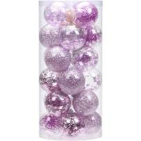 """Sea Team 70mm/2.76"""" Shatterproof Clear Plastic Christmas Ball Ornaments Decorative Xmas Balls Baubles Set with Stuffed Delicate Decorations (24 Counts, Orchid)"""